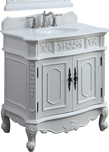 33″ Benton Collection Unique Classic Benson Bathroom Sink Vanity Model HF021W-AW-33