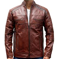 2nd Skin Original Leather, Cafe Racer, Vintage Brown Men's Jacket, Distressed, Waxed