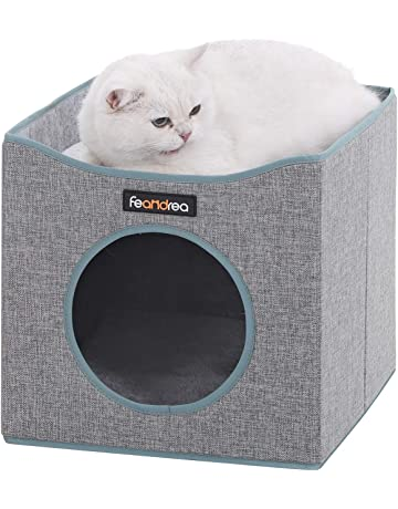 1fe8c5732234 FEANDREA Foldable Cat Condo, Cube Cat House with Lying Surface and 2  Reversible Cushions,
