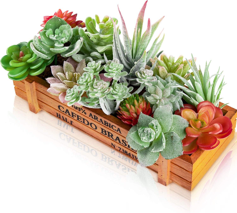 Whaline - 14 plantas suculentas artificiales con maceta de madera sintética suculenta de plantas que crean suculentas realistas en diferentes tamaños para decoración de paisajes y jardines.
