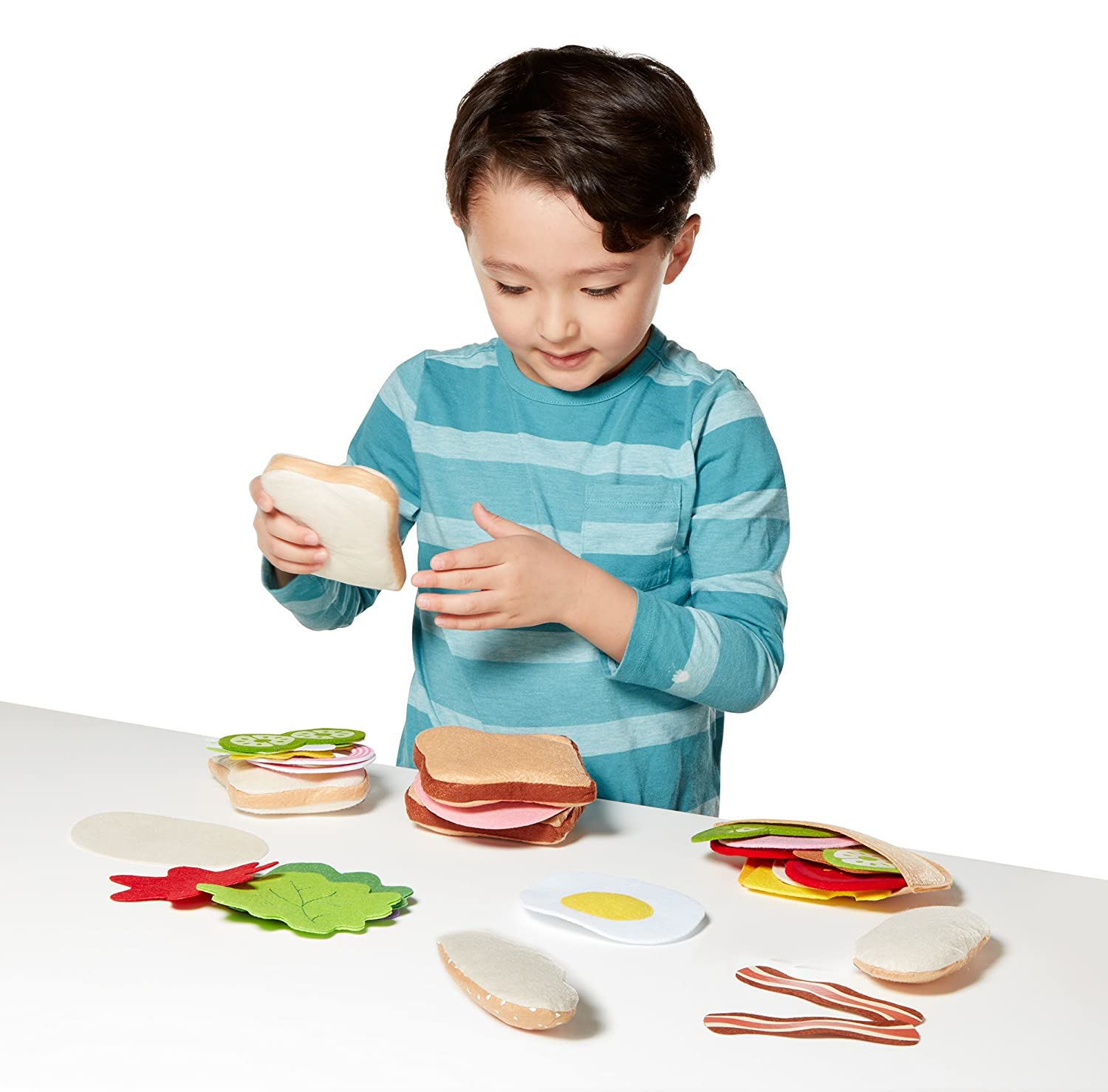 Amazon.com: Melissa & Doug Felt Food Sandwich Play Food Set (33 pcs ...