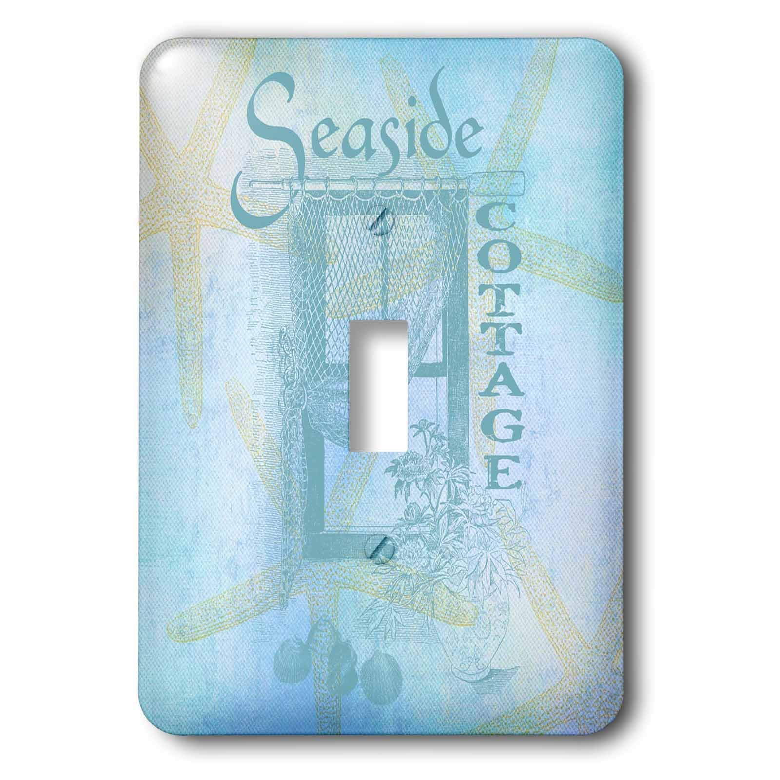 3dRose LLC lsp_79347_1 Window By The Sea with Shells and Starfish Beach Theme Single Toggle Switch