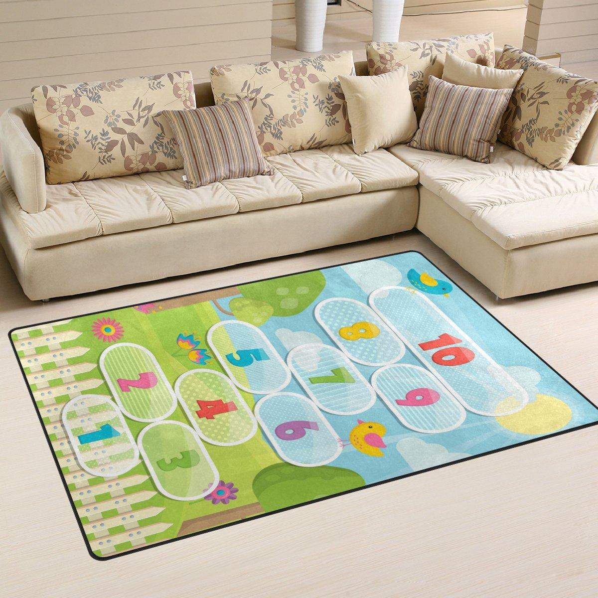WellLee Area Rug,Sunny Meadow Hopscotch Game Floor Rug Non-slip Doormat for Living Dining Dorm Room Bedroom Decor 60x39 Inch