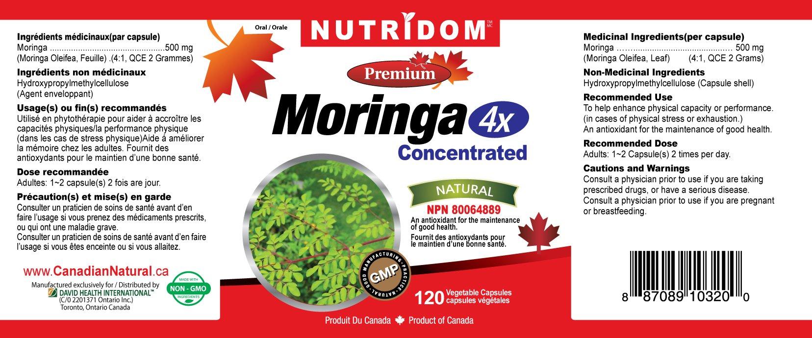 NUTRIDOM Moringa 4X 500 mg 120 Vcaps