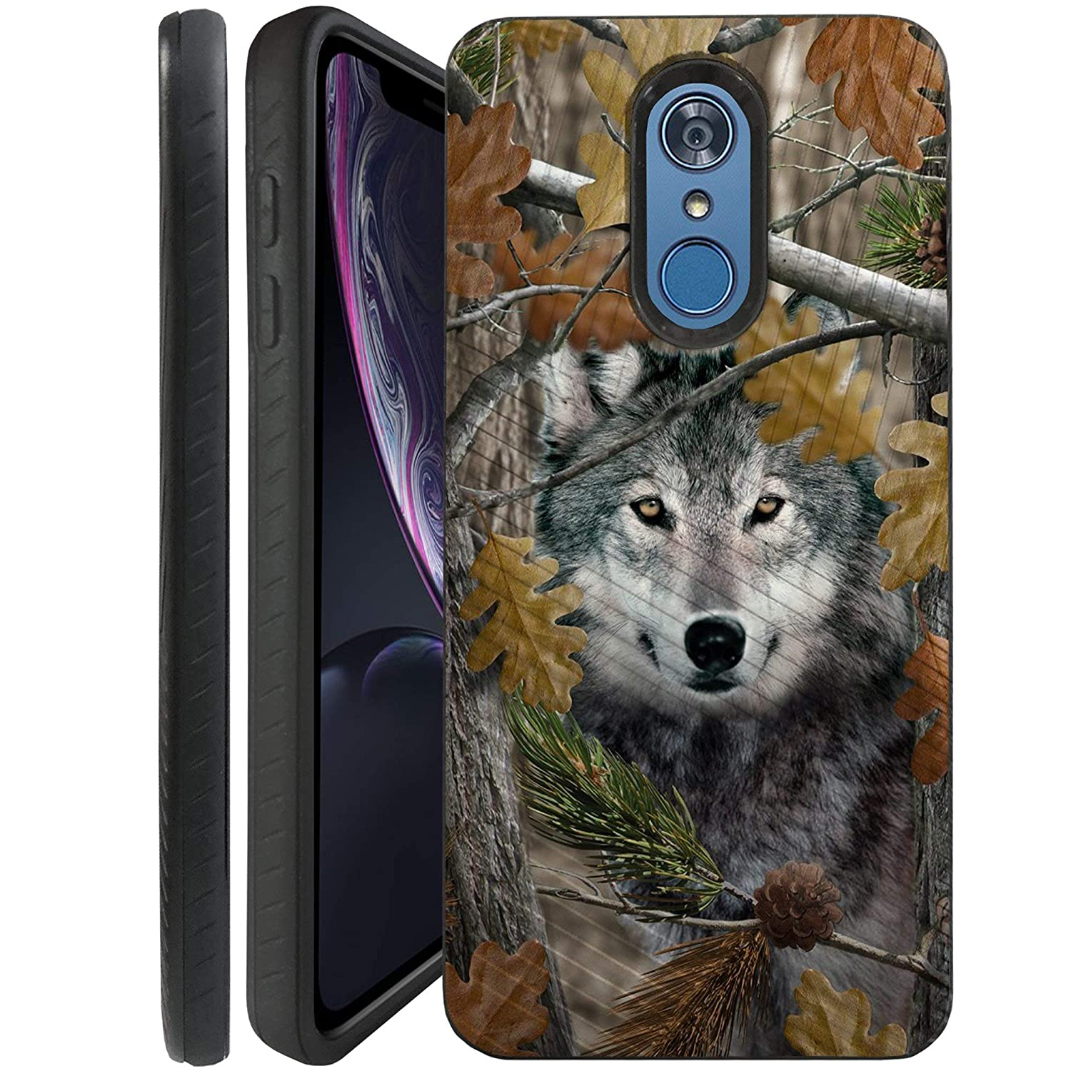 CasesonDeck Wolf Case Compatible with [LG Q7, LG Q7+, LG Q7 Plus] Hunters Series Dual Layer Embossed Slim Black Shockproof Cover (Wolf Tree Camo)