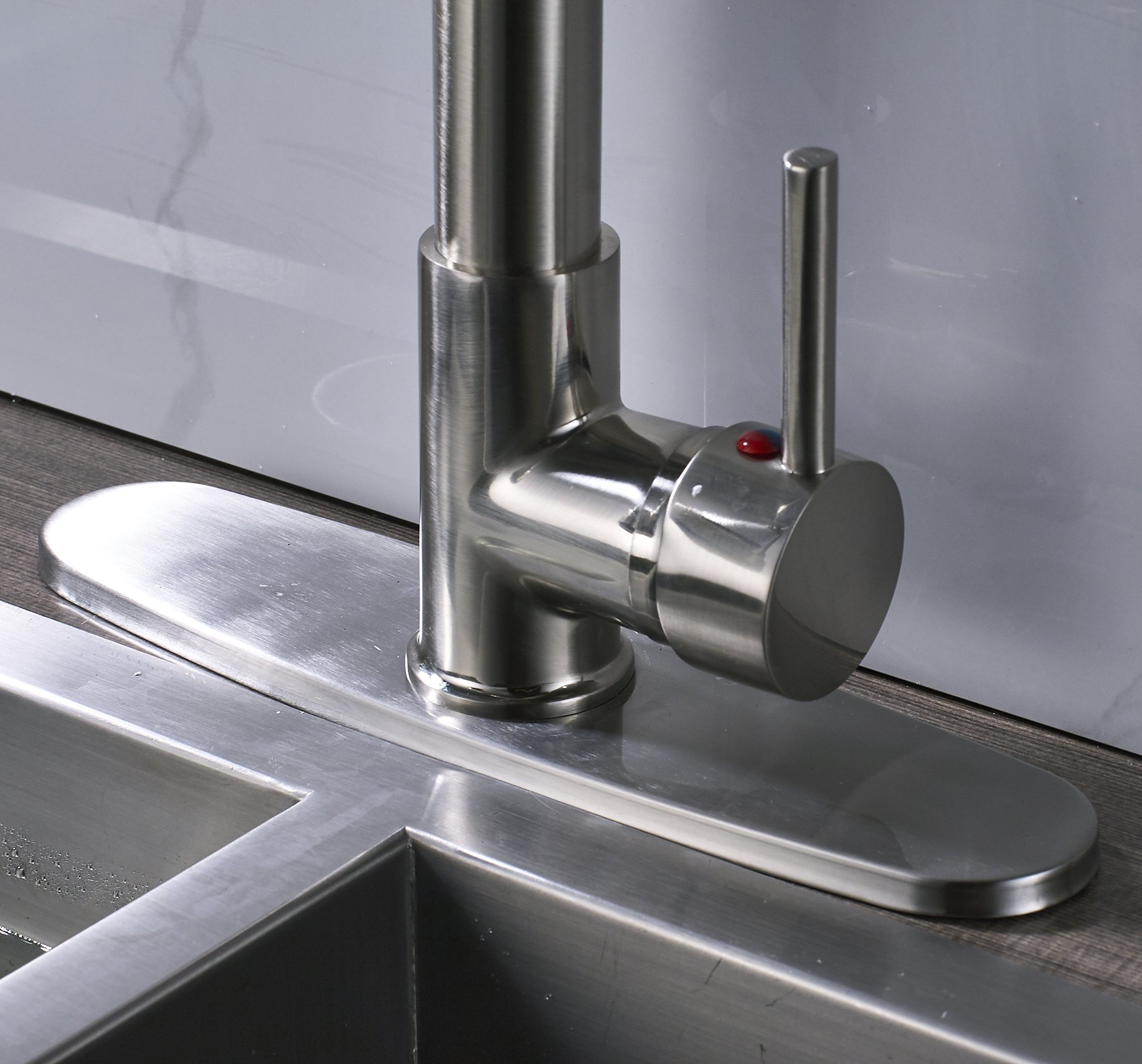 Rozin LED Light Sprayer Kitchen Sink Faucet with 8-inch Cover Plate Brushed Nickel by Rozin (Image #4)