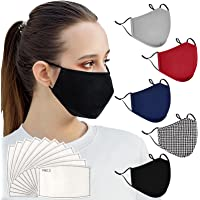 5 Pack Protective Covers with Elastic Adjustable Earloop for Unisex Adult,Washable and Reusable Full Face Anti-Dust…
