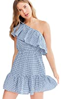 Sexy Asymmetrical One Shoulder Cold Open Shoulder Ruffle Hem Short Sleeve Plaid A-Line Mini Dress Blue