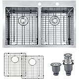 "Mowa HKN3322 Pro Series R10 Tight Radius Handmade 33"" 16 Gauge Stainless Steel Topmount 50/50 Equal Double Bowl Modern Kitchen Sink"