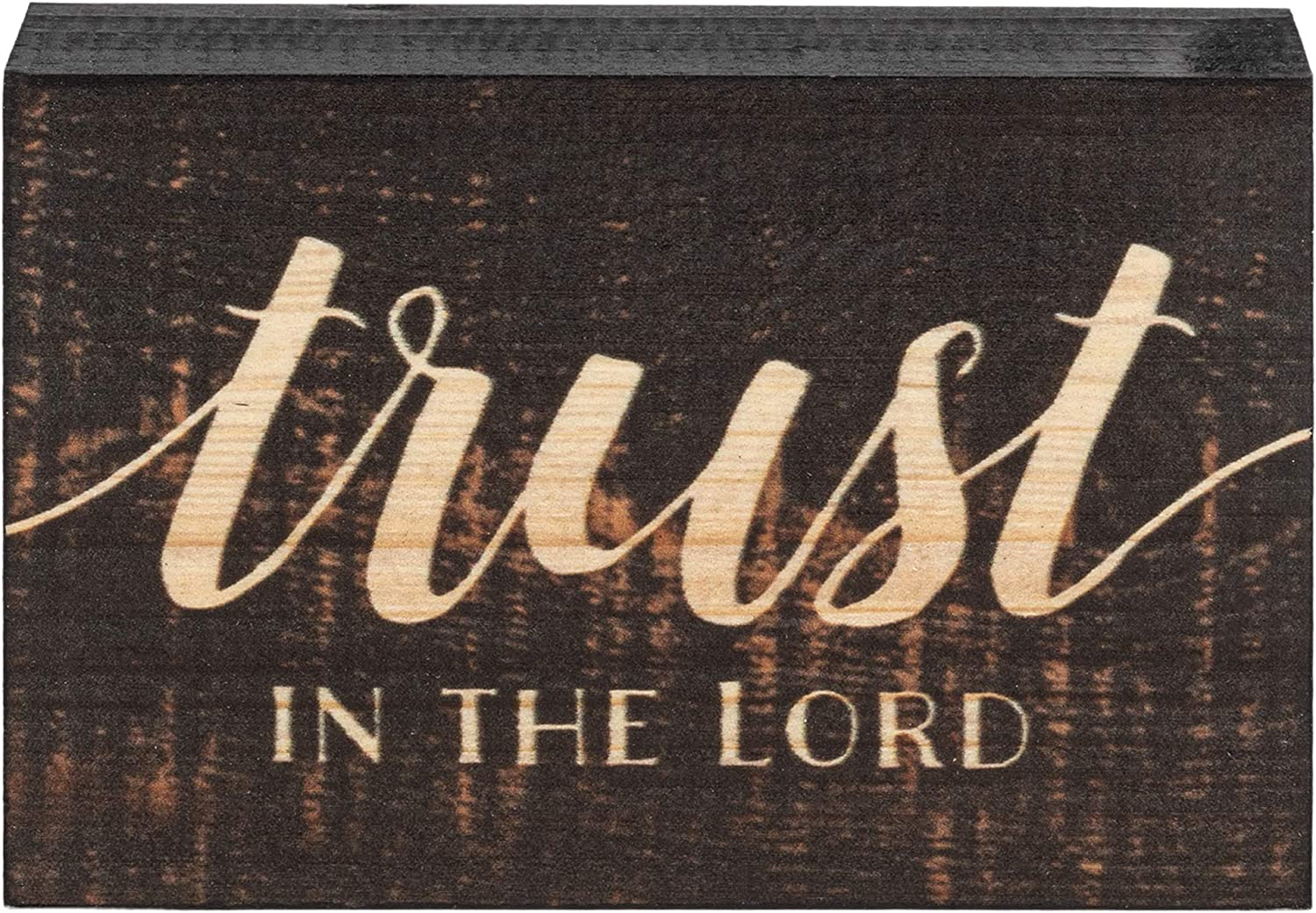 P. Graham Dunn Trust in The Lord Script Design Grey 5 x 3.5 Inch Solid Pine Wood Barnhouse Block Sign