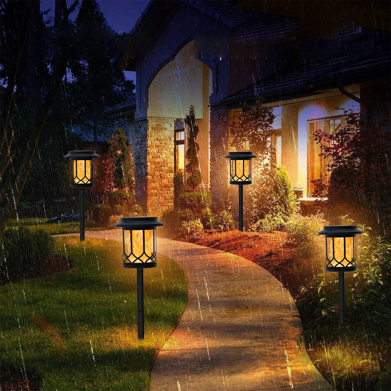 Dual-use Decorative Lamp with Dancing Flames Torches CHARMELEON Solar Flame Torch Lights Outdoor Garden Patio Decorations Lighting 4 Pack