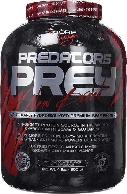 Predators Prey Pure Beef Protein Powder 1800 g: Sabor a chocolate intenso – Suplemento de carne hidroaislado molecularmente de primera calidad con 36 ...