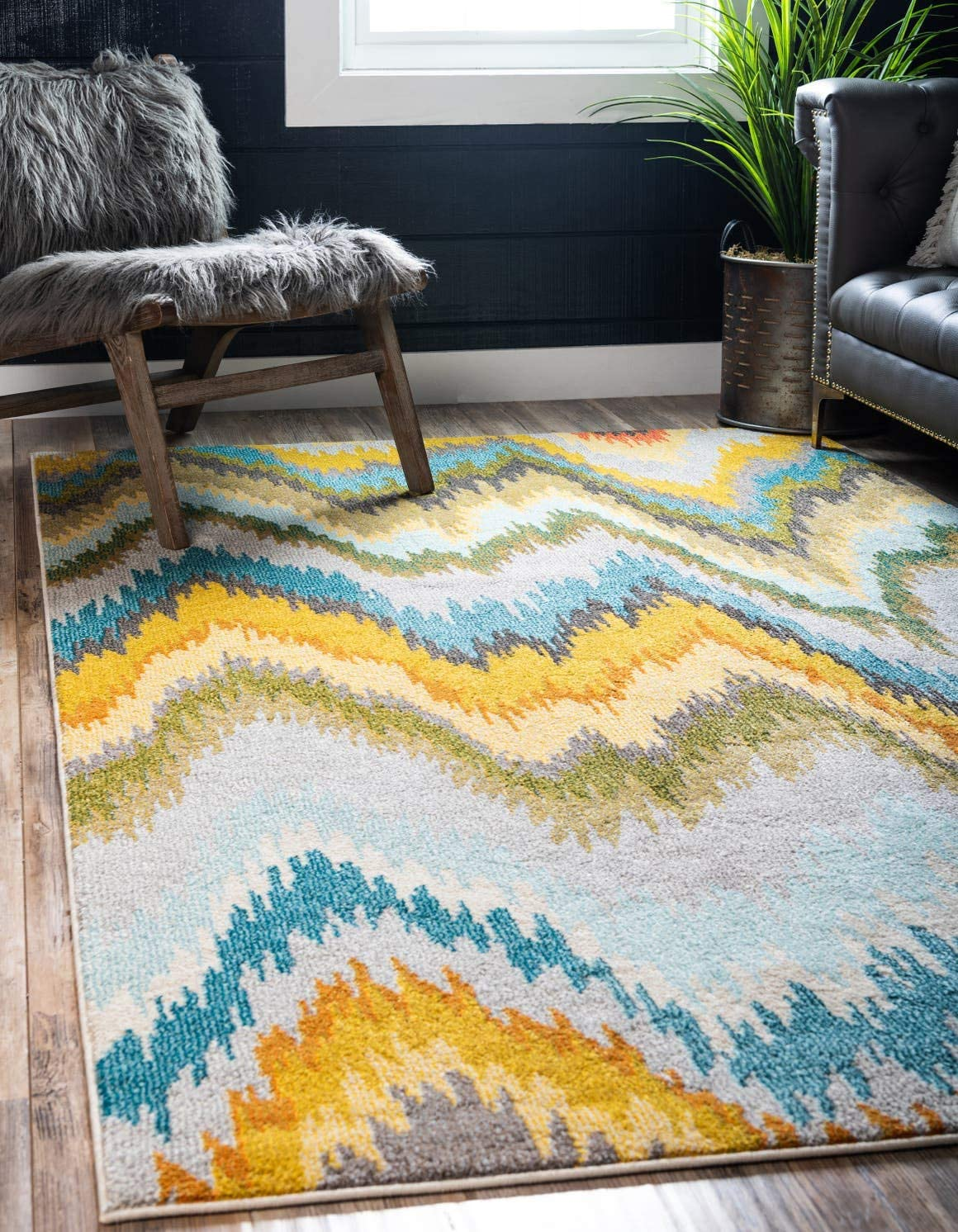 Unique Loom Estrella Collection Modern Abstract Multi Area Rug 3 3 x 5 3