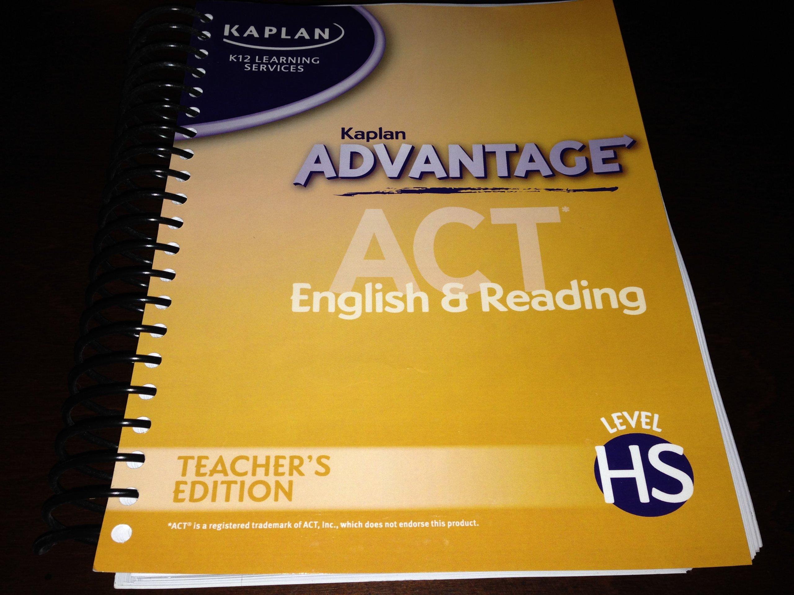 Kaplan advantage act k12 english reading teacher editon level kaplan advantage act k12 english reading teacher editon level hs kaplan k12 learning services 9781580597234 amazon books fandeluxe Images