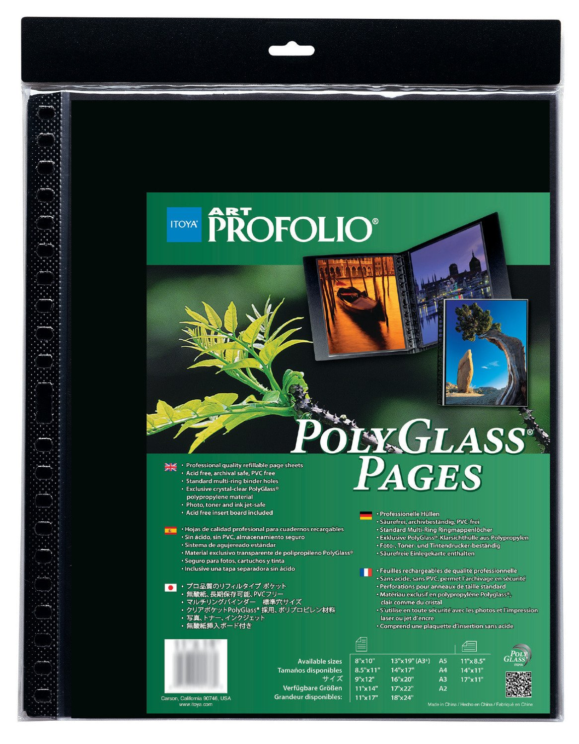 Itoya Art Profolio 16'' x 20'' Crystal Clear PolyGlass Pages, 10 Pages Per Pack by ITOYA