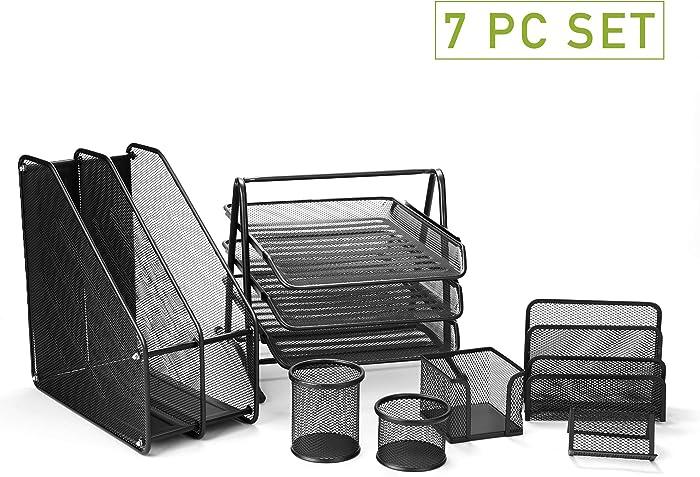 Mind Reader 7MPCORG-BLK 7 Piece Desk Organizer Set, Pencil Holder, Letter Tray, Paper Tray, Business Card Holder, Supplies Organizer, Black