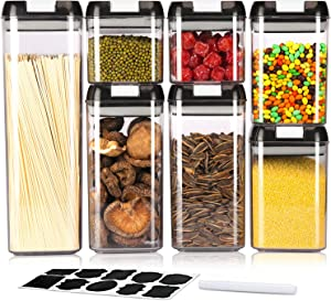 Airtight Food Storage Containers, 7 Pcs Cereal Containers Storage Set, BPA Free Clear Plastic Dry Food Canisters for Kitchen Pantry Organization and Storage- Include Labels & Marker