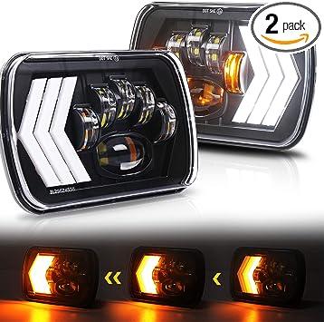 Pair 105W 5x7/'/' 7x6/'/' LED Headlight Hi-Lo Beam DRL For Jeep Cheorkee XJ YJ Truck