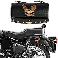 Autofy Universal Hawk Printed Single Lock Saddle Bag for All Bikes (Black, Golden)