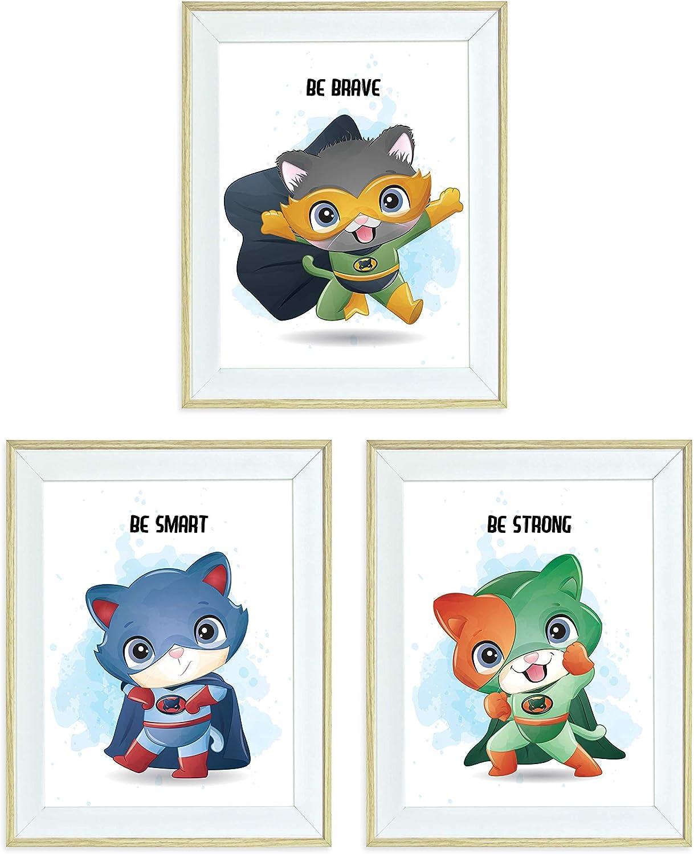 Framed Nursery Wall Art Animals Superheroes for Boys Room Wall Decor, 10