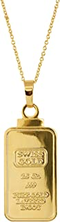 product image for American Coin Treasures 2.5 Gram Swiss Ingot Replica Pendant Necklace Layered in 24kt Gold