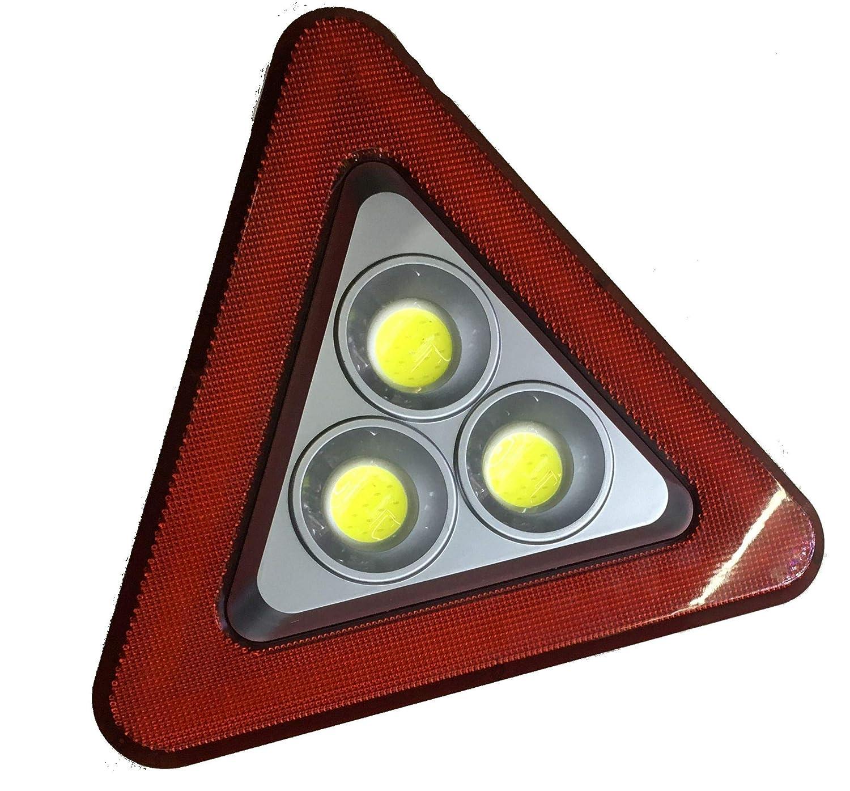 2 Pack Medium COB Emergency Warning Triangle Light Solar Power Rechargeable Portable Waterproof Flashing Emergency Hazard Safety Flood Light for Job Site Safety LED Triangle Roadside Warning Light