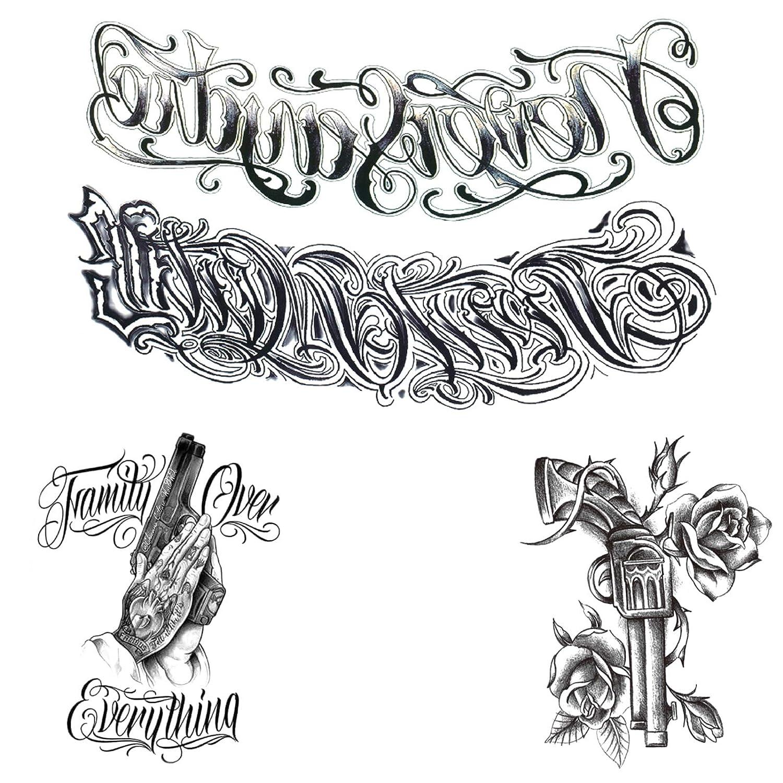 3 pieces of combination black false tattoo British body wrist art fashion tattoo detachable waterproof