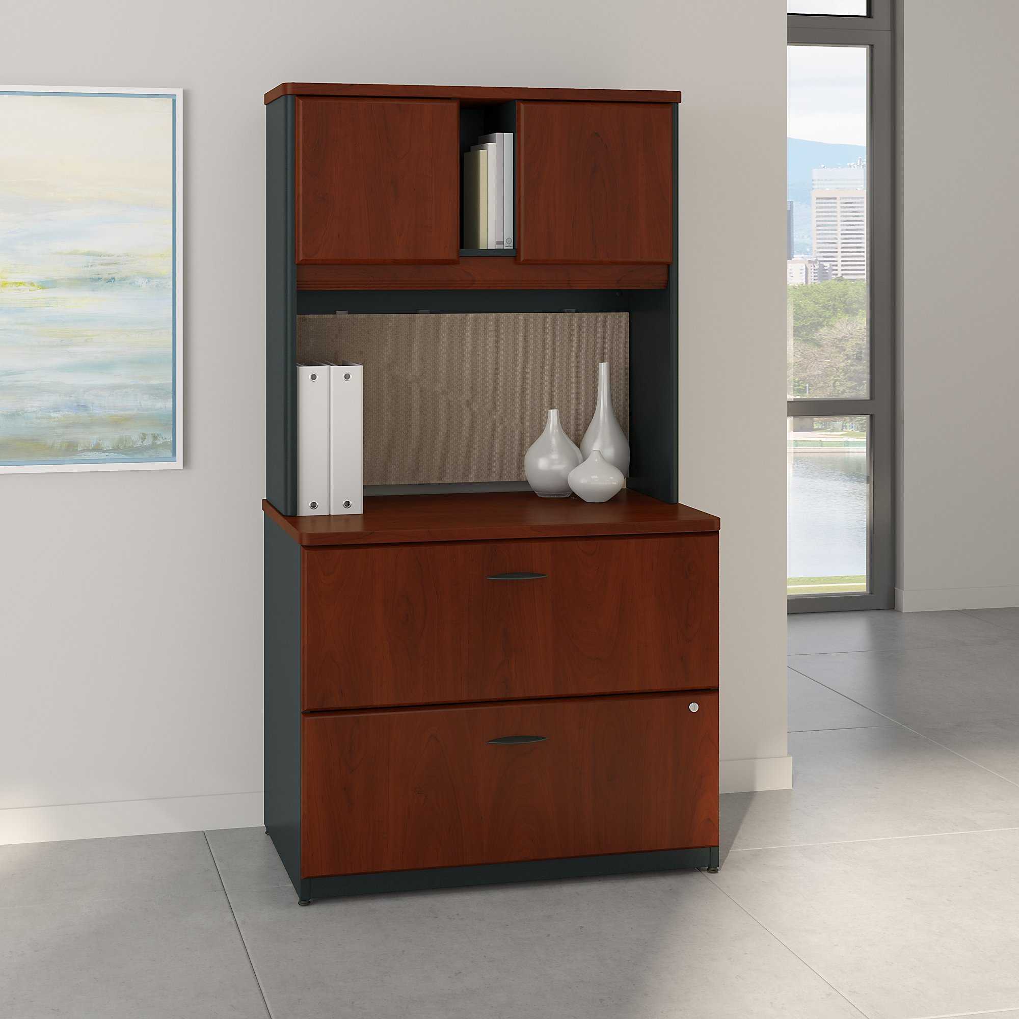 Bush Business Furniture Series A 36W Lateral File Cabinet with Hutch in Hansen Cherry and Galaxy by Bush Business Furniture