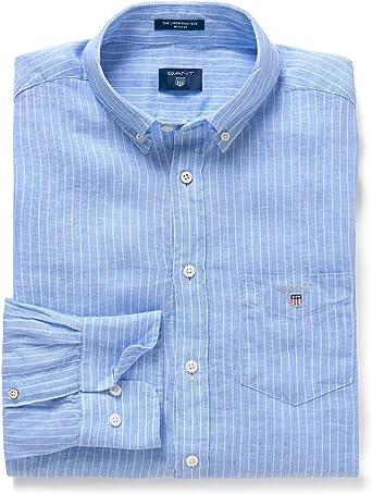 Gant - Camisa Casual - Rayas - Manga Larga - para Hombre Azul L: Amazon.es: Ropa y accesorios