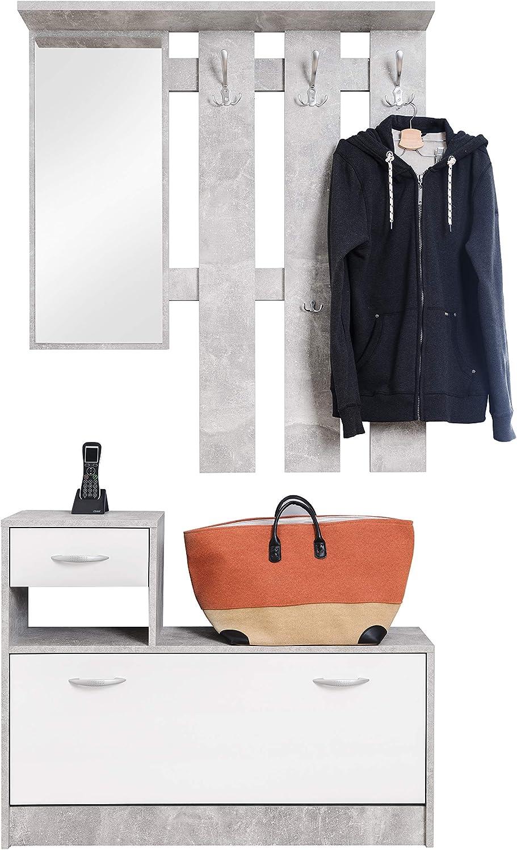 Dmora Mobile da Ingresso con Specchio e scarpiera Legno 100 x 25 x 180 cm Entratina con cassetto Bianco e Rovere