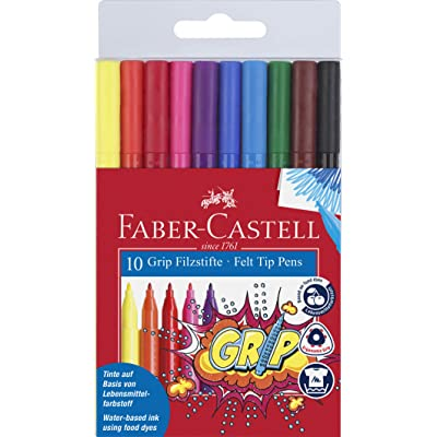 Faber-Castell GRIP Color Markers - 10 Washable Fineline Markers
