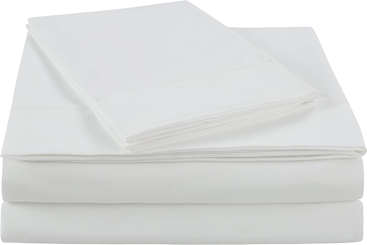 NC Home Fashions Ultra Soft Brushed Microfiber Solid Bed Sheet Set- Cotton Feeling-Deep Pockets - Easy Fit - Breathable & Cooling - Wrinkle, Fade, Stain Resistant-Twin XL, Bright White -3 Pieces