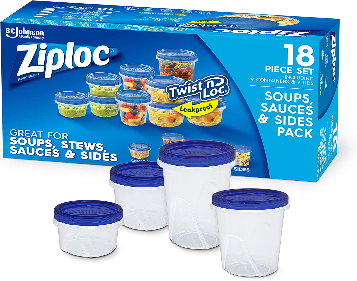 Ziploc Food Storage Meal Prep Containers with Smart Snap Technology, Dishwasher Safe, Variety Pack, 9 Count