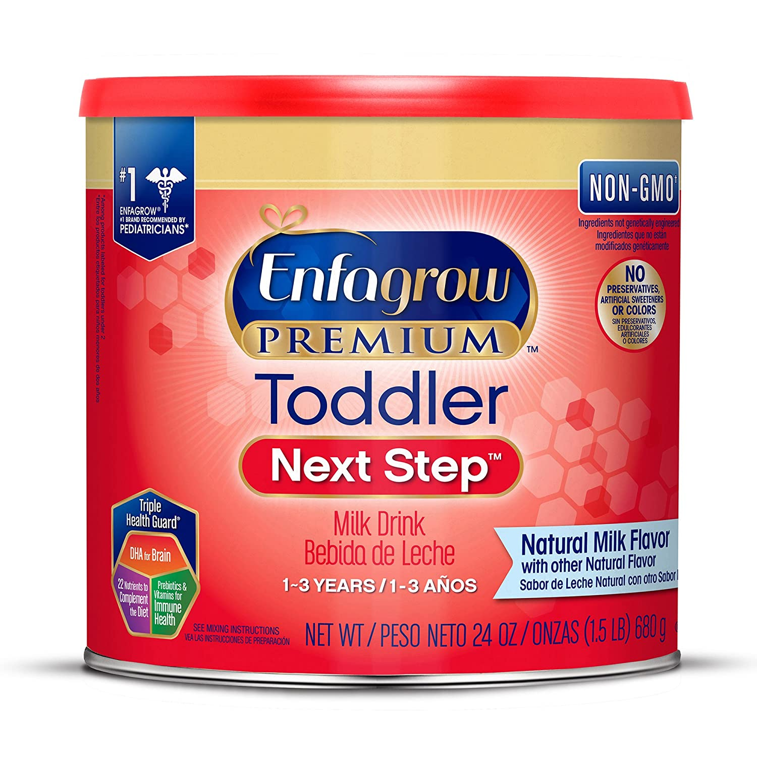 Enfagrow PREMIUM Toddler Next Step, Natural Milk Flavor - Powder Can, 24 oz (Pack of 4) MJ-190