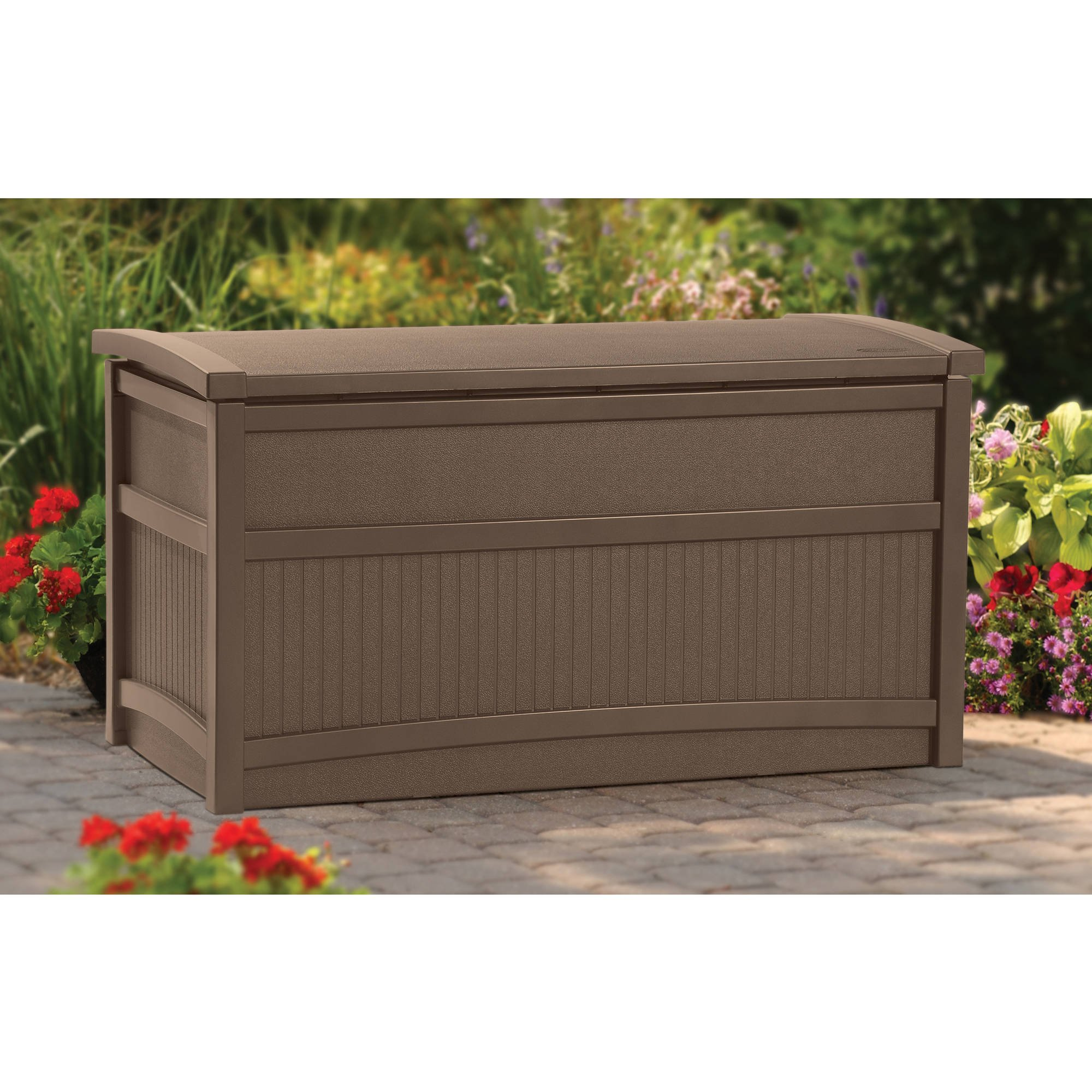 Storage Deck Box, 50 Gallon Mocha Resin Stay Dry design Long Lasting Resin Deck Box Waterproof and Snaps Creating a Dry Area for Garden tools Swimming pool supplies and More