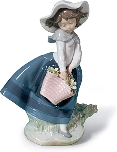 LLADR Pretty Pickings Girl Figurine. Porcelain Girl with Flowers Figure.