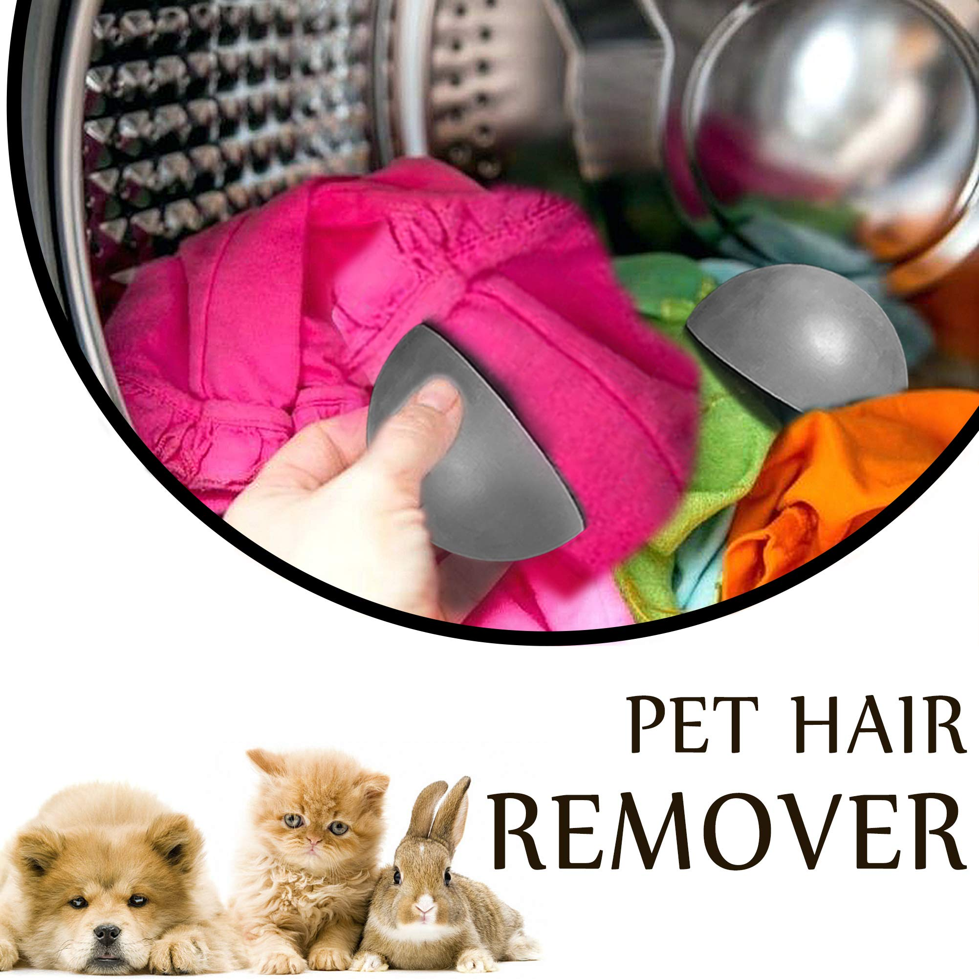 Pet Hair Remover Non-Toxic Reusable Fur Lint Removal Cleaner Remove Dogs and Cats Hair for Laundry Dryer, Clothes, Furniture, Carpets (Gray)