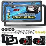 Aootf Carbon Fiber License Plate Frame- Black Aluminum Slim Car Tag Cover, Heavy Duty Holders for Front & Rear, Mount Hardwar