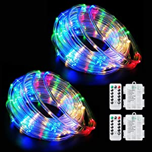 LED Rope Lights Battery Operated String Lights Fairy Lights 40Ft 120 LEDs 8 Modes Outdoor Waterproof Dimmable/Timer with Remote for Christmas Garden Party Decoration (Multi-Color-2)