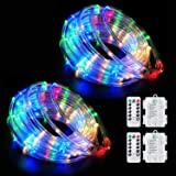LED Rope Lights Battery Operated String Lights Fairy Lights 40Ft 120 LEDs 8 Modes Outdoor Waterproof Dimmable/Timer with Remo