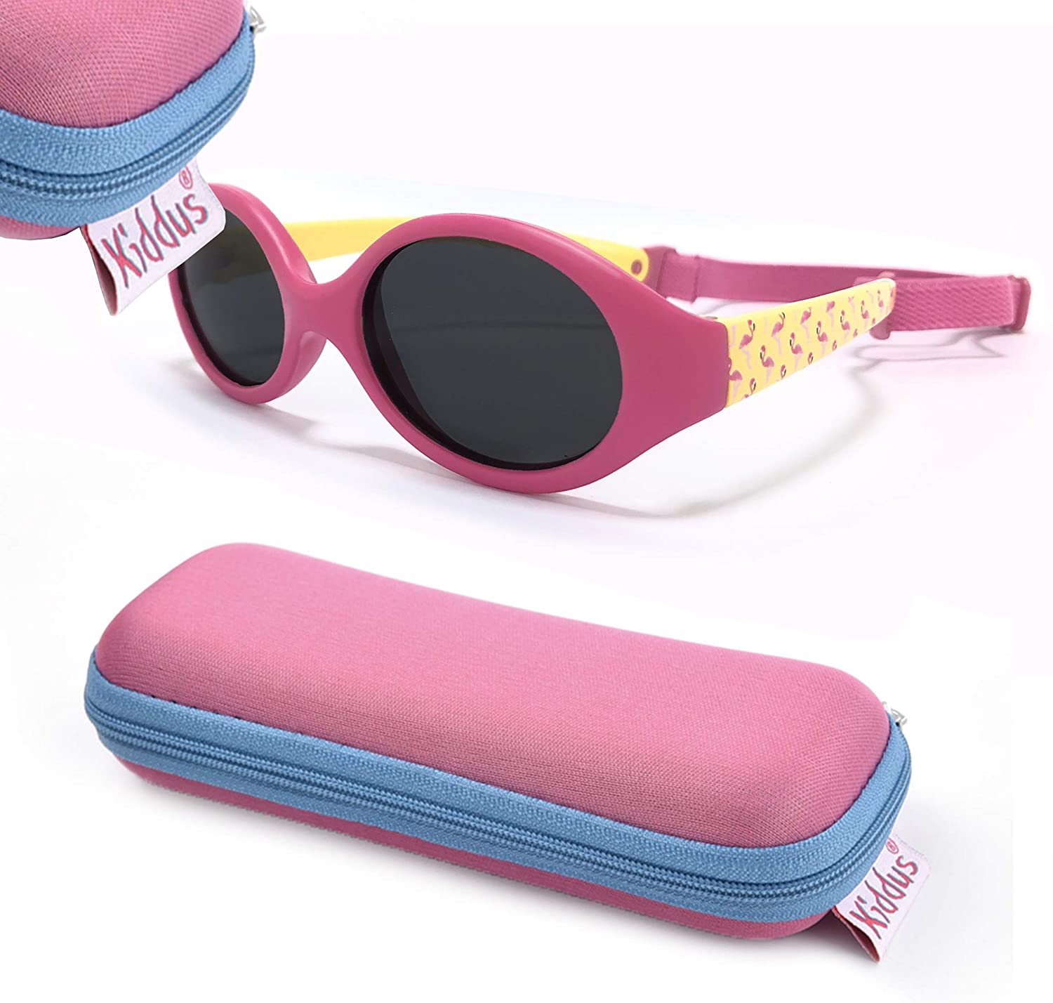 Adjustable and Detachable Elastic Band Sun filter UV400 KIDDUS Baby Comfort SUNGLASSES for Babies Boy and Girl From 6 months Flexible Safe Comfortable and Resistant Goggles