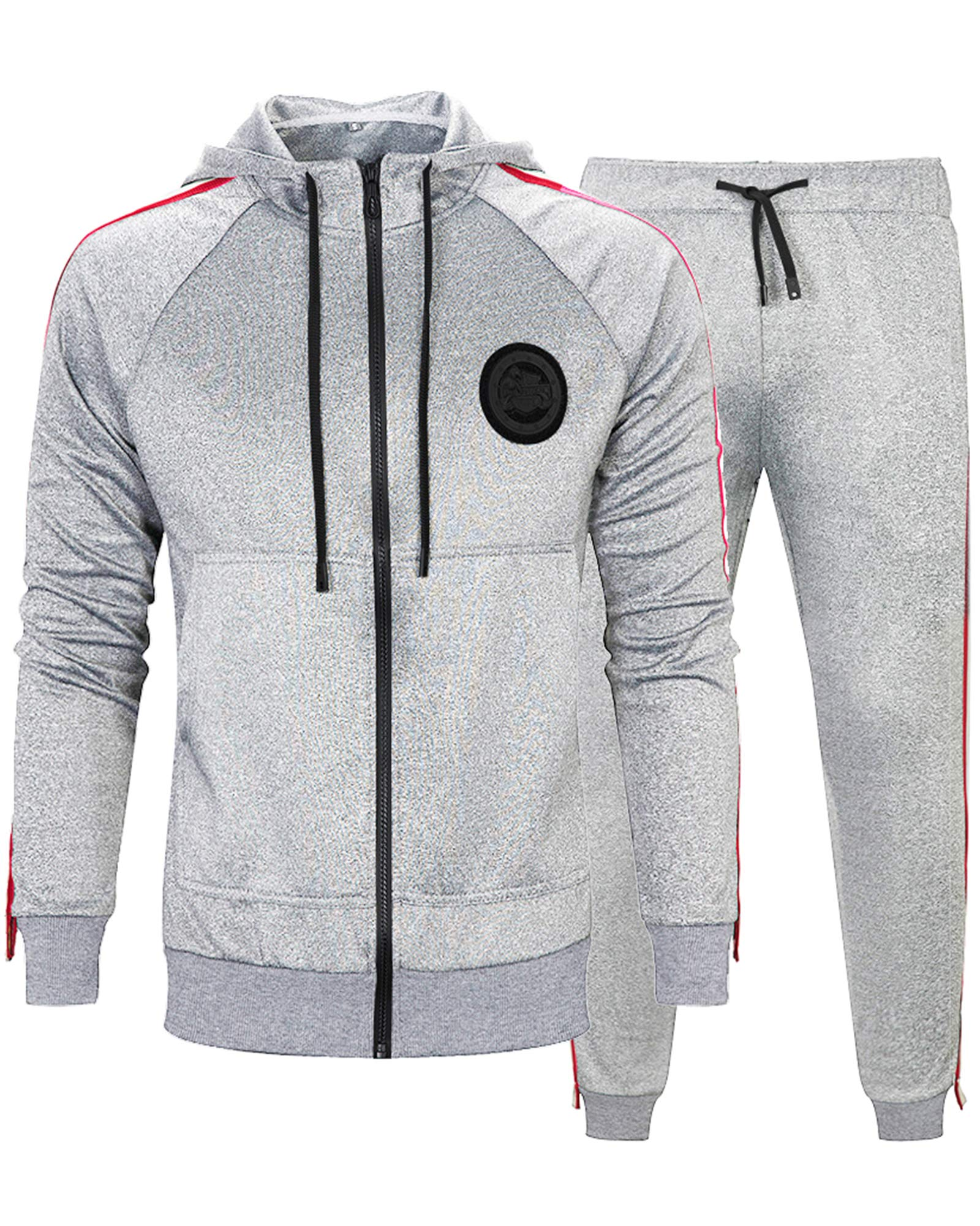 MACHLAB Men's Activewear Sports Jogging Sweat Suits Running TracksuitLight Gray M