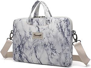 Canvaslife Marble Pattern Waterproof Laptop Shoulder Messenger Bag Case Sleeve for 14 Inch 15 Inch Laptop 15 Case Laptop Briefcase 15.6 Inch