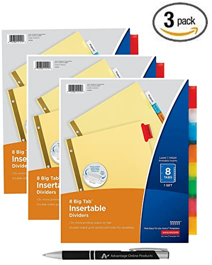 avery big tab insertable dividers buff paper 8 multicolor tabs pack of 3 sets