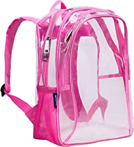 Wildkin Kids 15 Inch Backpack for Boys and Girls, Perfect Size for School and Travel, 600-Denier Polyester Fabric Backpacks Features Padded Back and Adjustable Strap, BPA-Free (Clear w/ Pink Trim)