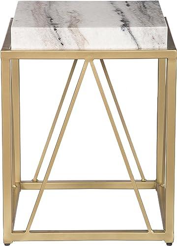 Treasure Trove Accent Table, White and Gold