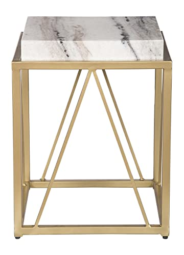 Treasure Trove Accent Table, White and Gold
