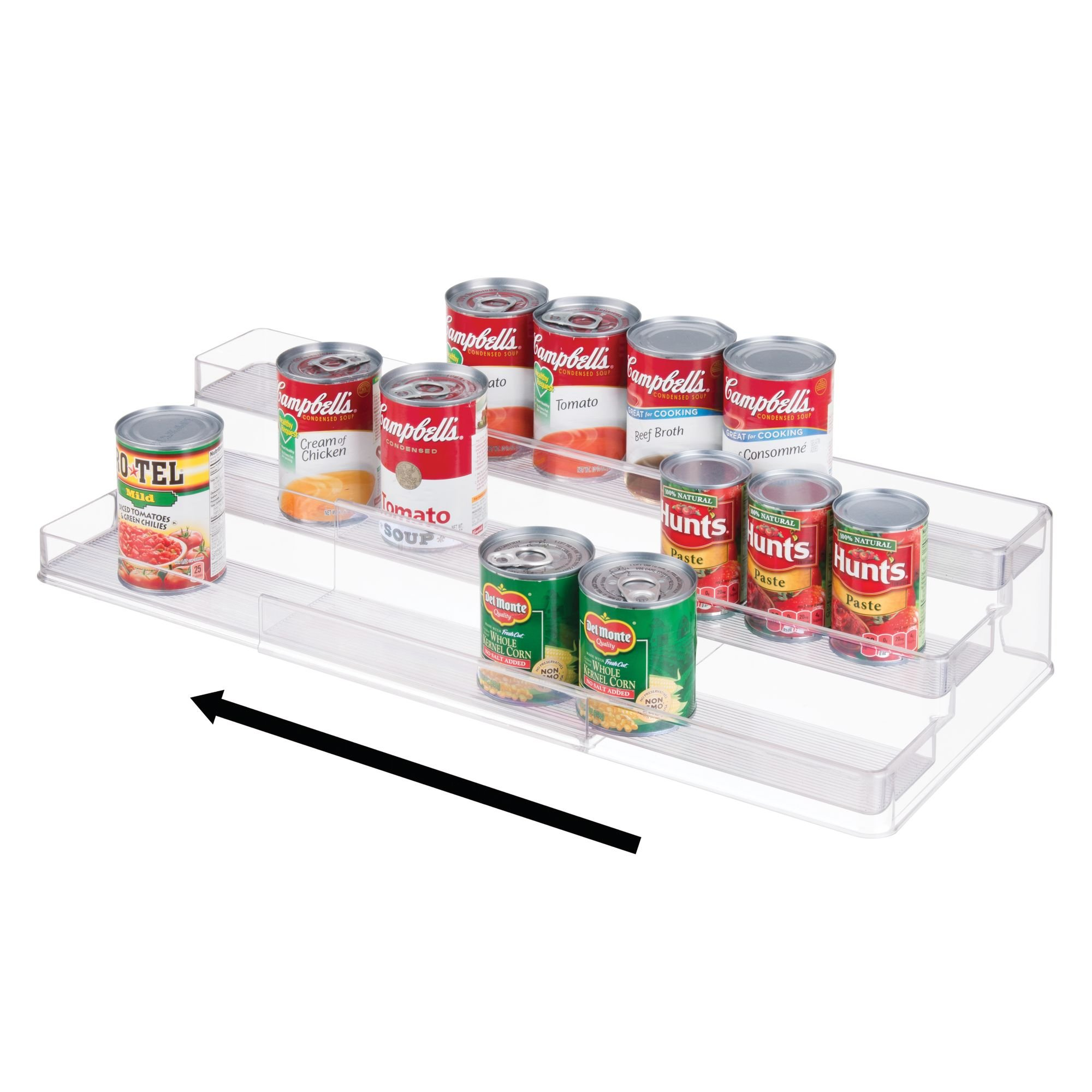 mDesign Adjustable, Expandable Large Organizer/Spice Rack Holder for Kitchen Cabinet, Pantry, Shelf, Cupboard - 3 Tier Storage: Food Safe, BPA Free - Expands from 16.75'' up to 32'' Wide, Empty, Clear