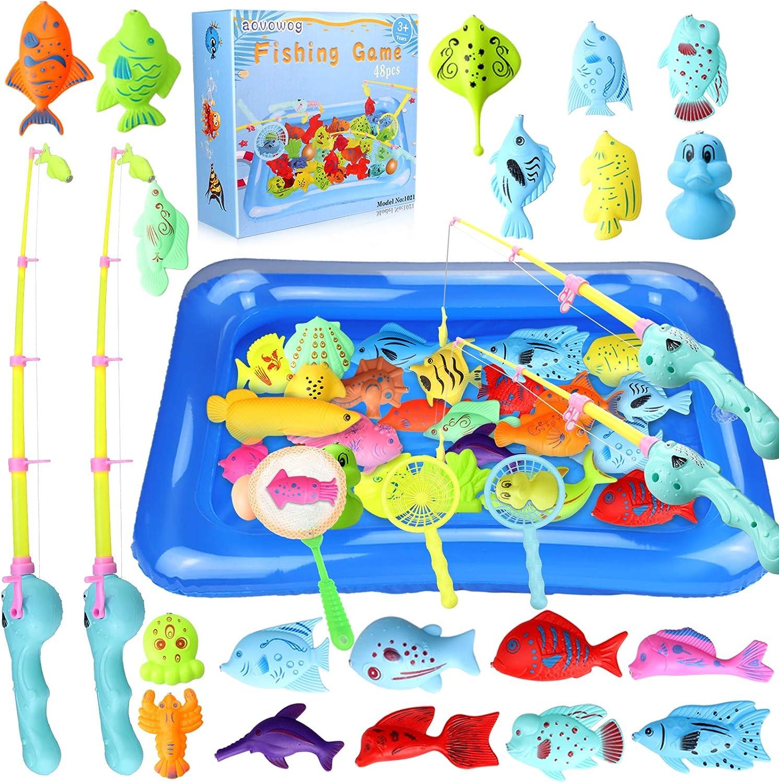 aovowog 48PCS Juguete de Baño Juego de Pesca Magnética,Juguetes Bañera Juguetes Piscina para Niños 3 4 5 6 Años,Juegos de Agua para Bañera Interior Jardin Exterior