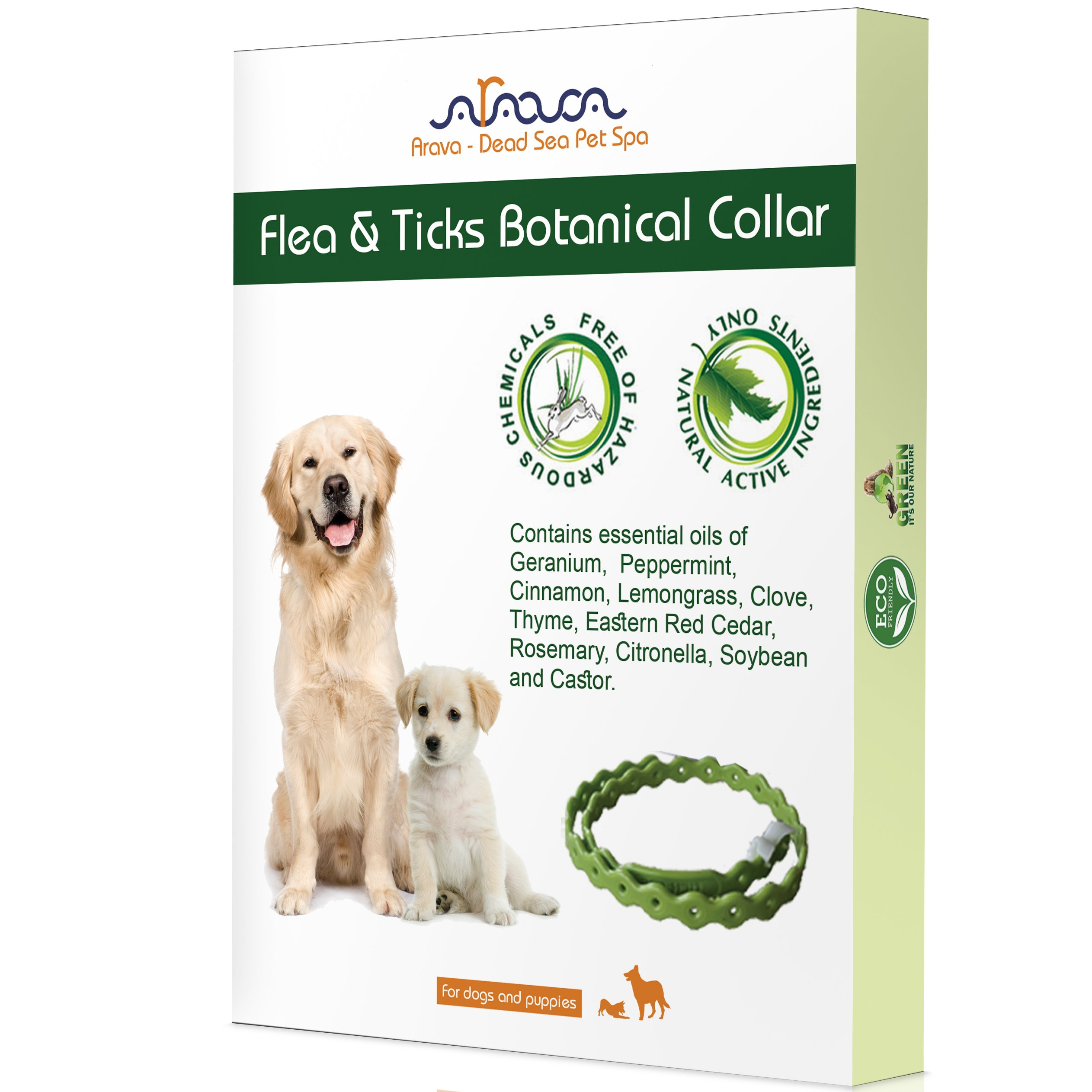 Arava Flea & Tick Prevention Collar - for Dogs & Puppies - Length-25'' - 11 Natural Active Ingredients - Safe for Babies & Pets - Safely Repels Pests - Enhanced Control & Defense - 5 Months Protection